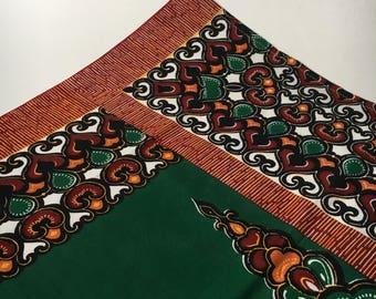 Wax print batik starburst abstract leaf motif vintage hemmed fabric panel green burgundy