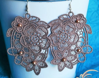 Embroidery for wedding earrings, evening - Lace Earrings, Bridal Earrings