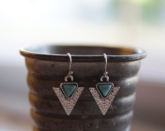 Silver Triangle Earrings / Turquoise Earrings