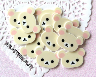 Cream Colored Kawaii Bear Planar Cabochons - 3 Pieces or 6 Pieces ( 26 x 39 MM )