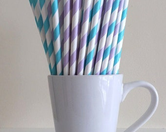 Purple and Blue Paper Straws Lavender Lilac Light Purple and Turquoise Robins Egg Blue Party Supplies Party Decor Bar Cart Accessories