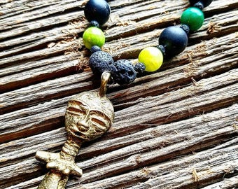 African, Fertility, Healing, Handmade, Beaded Bracelet, Lava Stones, Aromatherapy, Stretchy Wire, One Of A Kind, Blue Beads, Beads, Oils