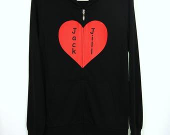 Heart shape with customized name zip up hoodie (One of a Kind, Custom made, Handmade, Homemade)