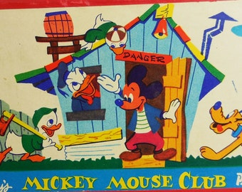 Mickey Mouse Club Pencil Box Pencil Case 1950's Walt Disney Productions, lithographed box