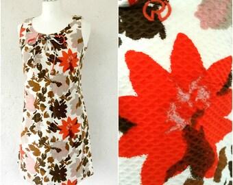 White floral mini tunic dress * Summer beach dress * Sleeveless dress * Vintage mini dress * Dress M Medium