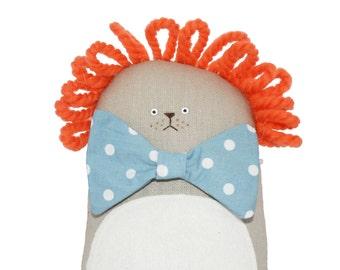 Handmade toy lion, lion stuffed animal, cuddly toy lion, ginger doll, lion plushie, lion softie, soft toy lion, soft sculpture, textile art