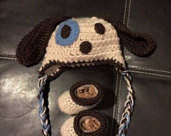 Baby Puppy Hat and Booties
