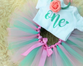 WOW Magical Mint and Precious Pink first birthday outfit/ cake smash outfit/ birthday skirt/ tutu/ vest/ flower crown