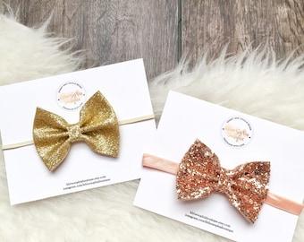 Glitter Bow - 2 Bow Pack - Gold Hairbow - Baby Hair Bow - Sparkle Headband - Baby Girl Headband Bow - Rose Gold Bow - Summer Hair Bow - Gold