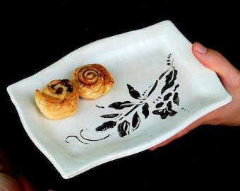 Small ceramic tray, Butter dish, black and white dish , Decorative Tray, cheese tray, Ceramic butter dish,  handmade tray