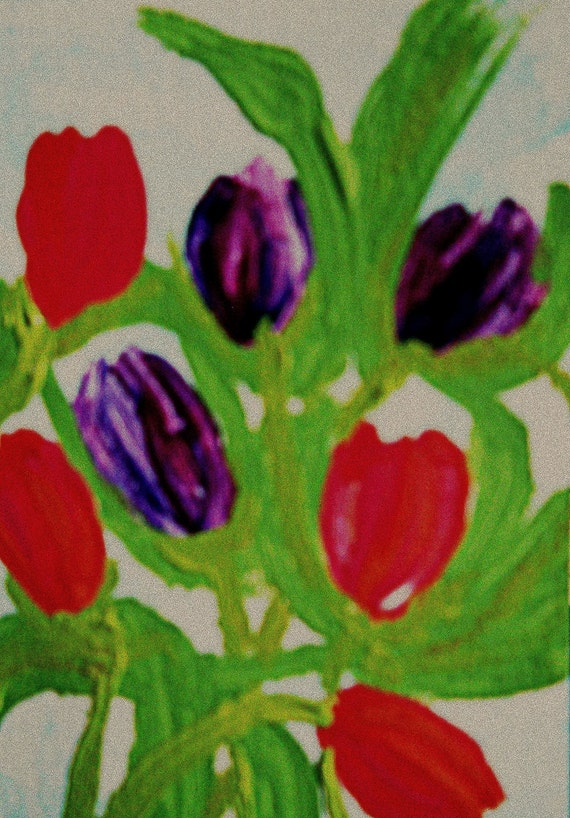 PERSIAN PEARL Original Hand Painted Acrylic Blank Note Card TULIPS, by Stacey Torres Folk Artist purple red tulips Mother's Day Weddings art