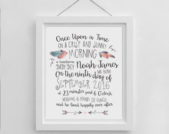 Custom Birth Announcement | Tribal Nursery Wall Art | Digital Download