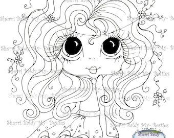 INSTANT DOWNLOAD Digital Digi Stamps Big Eye Big Head Dolls Digi  My - Besties  IMG295  By Sherri Baldy