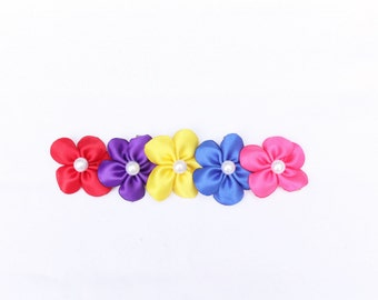 Summer Collection - Set of 5 Mini Flower Hair Bows - Summer Colors Bright Flower Clips