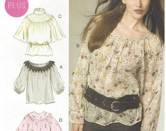 Laura Ashley Womens Boho Tops & Belt OOP McCalls Sewing Pattern M6437 Size 8 10 12 14 16 Bust 31 1/2 to 38 UnCut Peasant Top Patterns