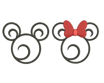 Swirl Swirly Scroll Disney Minnie Mickey Mouse Head Ears Applique Design Embroidery Fill Machine Instant Download Digital File EN4042E1E33