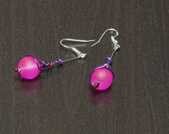 Silver earrings with pink beads