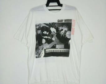 Rare!! Vintage 90s GARY MOORE  guitarist and singer blues-rock white colour large size