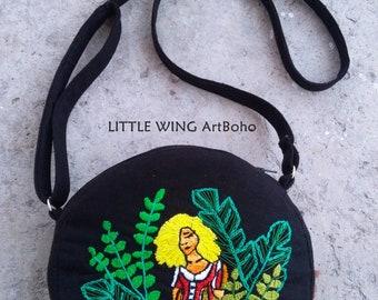 Black circle bag,Crossbody bag,Crossbody purse,Round bag,Crossbody handbags,Small handbag,Black bag,Embroidered bag,Tropical bag,Tropical