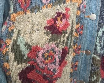 Womens denim jacket with tapestry size medium
