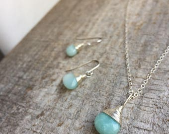Amazonite Set|Sterling Silver|Matching Set|Dainty Jewelry|Bridesmaid Jewelry|Darling Necklace|Silver Jewelry Set|Healing Crystals