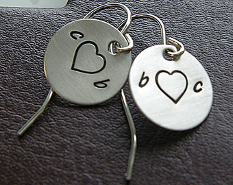 Personalized Initial Charm Earrings - Hand Stamped Sterling Silver - Initial Heart Charm Earrings with French Ear Wire