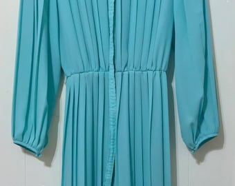 1980's Pleated Shirt Waist Dress with Matching Belt // Teal Dream // Large