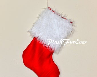 "13"" x 20"" Christmas Stocking White Faux Fur Red Suede Family Fireplace Stockings Decoration Medium Size"
