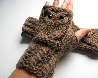 Owl Fingerless Gloves Mittens - Merino Wool Chunky - Brown / READY TO SHIP