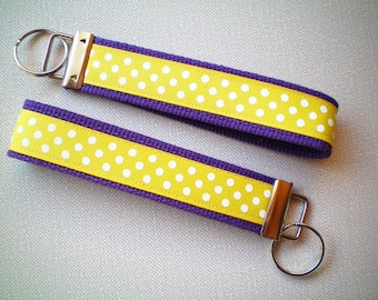 Wristlet Style Key Fob - Purple and Gold
