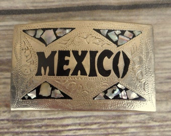 Vintage Mexico Belt Buckle Silver Black Abalone Shell Mosaic Country Western