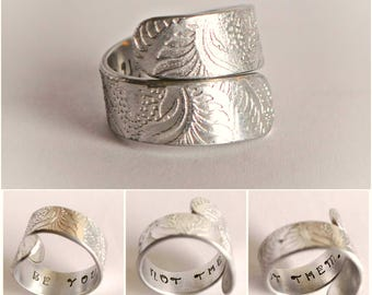 Bypass ring, Inspiring,handstamped ring, silver aluminium embossed jewellery, pattern jewellery, hidden message