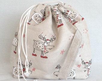 Large Knitting Project Bag. CHRISTMAS Elk. Special KnitterBag design.