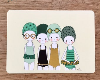 """Illustrated postcard """"Swimmers"""", decorative stationery"""