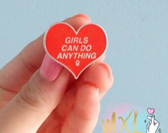 Girls Can Do Anything lapel pin
