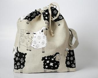 Drawstring Knitting Project Bag. LARGE. Special KnitterBag design. Sheep. WIP bag. Crochet project bag. Gift for knitter. Organic Linen