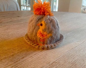 Baby Handknit Hat with Ducks
