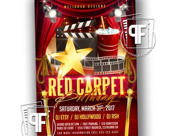 Hollywood Birthday Invitation - Hollywood Invitation - Red Carpet Invitation - Red Carpet Birthday - Hollywood Birthday - Red Carpet Flyer