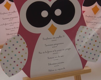 OWL theme for boy or girl christening menu
