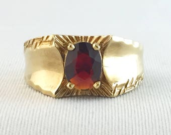 Vintage Garnet Men's Ring #3, Oval Cut 8 x 6 mm, 14K Gold Plated size 9 last one