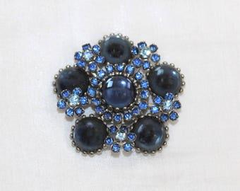 "Vintage Sapphire Blue Art Glass Cabochon & Blue Rhinestone Pin Brooch 2"" x 2"""
