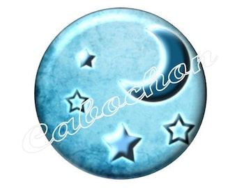 2 cabochons 18mm glass, moon stars, blue tone