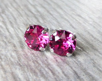 Magenta Swarovski Stud Earrings, Crystal Rhinestone Stud Earrings, Fuchsia Prism Post Earrings, Silver Round Crystal Studs, Gift for Her