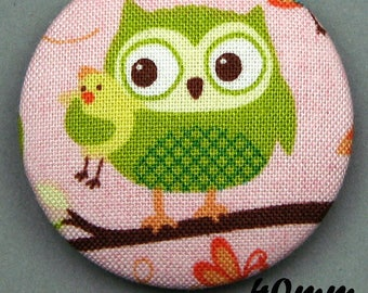Fabric - OWL - 40mm (BP ANF 40 35) covered button