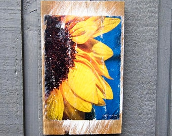Half Sunflower Wall Art, Fine Art Photography Manually Transferred to Reclaimed Wood and Ready to Hang in Your Home
