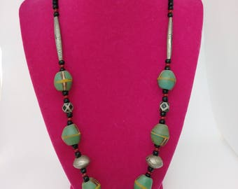 African metal and bead necklace