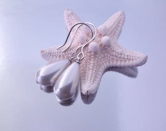 South Sea Shell - Mother of Pearl Teardrop Beads White with Rainbow Luster Earrings,  925 Sterling Silver wire Hook
