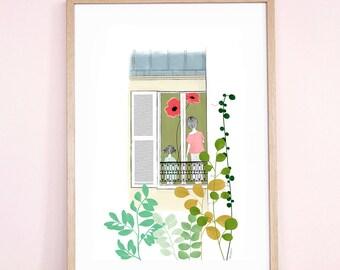 Les Voisines / Neighbors - illustration printed on Fine art paper AkabéParis