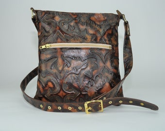 Handmade Laredo Sepia Western Embossed Leather Handbag