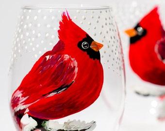 Cardinal Wine Glasses, Red Bird Christmas Glasses, Set of 2 Hand Painted Christmas Glasses